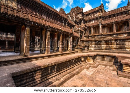 Part of the Angkor Wat (Capital Temple), Khmer temple in Cambodia. UNESCO World Heritage site