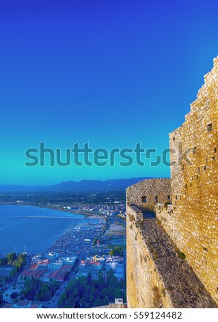 part of the beautiful Bourtzi the old fortress of Nafplio in Greece