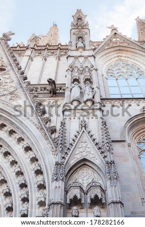 part of the Cathedral of the Holy Cross and Saint Eulalia, Barri - stock photo