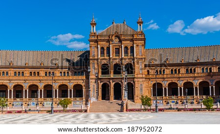 Part of the Central building at the Plaza de Espana in Seville, Andalusia, Spain. It's example of the Renaissance Revival style in Spanish architecture.