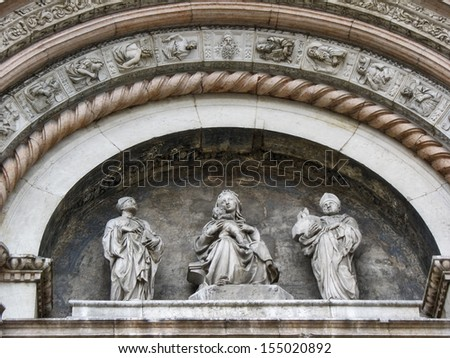 Part of the church San Petronio in the background. Bologna, Italy - stock photo