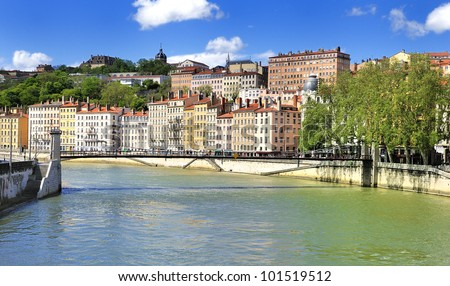 part of the city of Lyon, France - stock photo