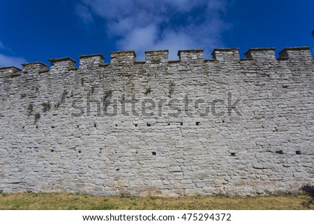 Part of the city wall around the medieval town Visby on the Island Gotland in the Baltic sea. The wall forms an important and integral part of Visby World Heritage Site