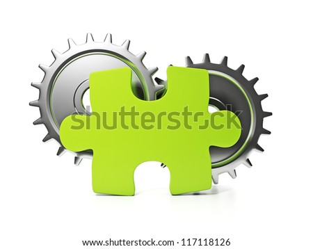 Part of the company. Puzzle and pinion idea of a large company - stock photo