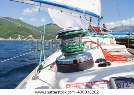 """Part of the deck of the yacht. Tivat, Montenegro - 26 April, 2016. Regatta """"Russian stream"""" in God-Katorskaya bay of the Adriatic Sea off the coast of Montenegro. - stock photo"""