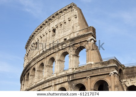 Part of the elliptical amphitheatre in the centre of Rome, the Colosseum, Italy, Southern Europe
