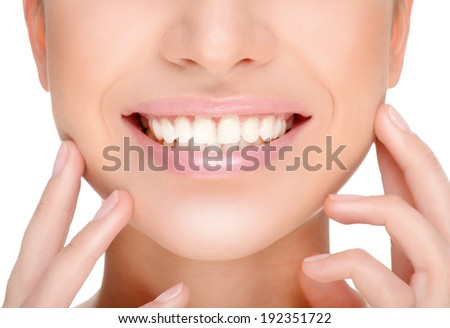 part of the face close-up, toothy smile, - stock photo