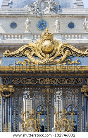 Part of the gate to Sainte Chapelle - Paris, France. - stock photo