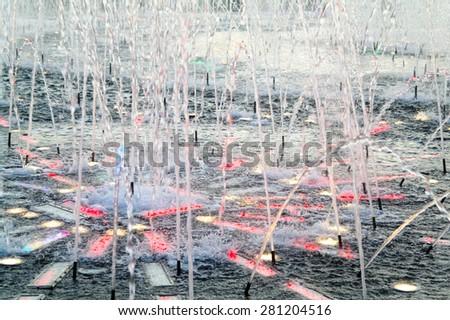 Part of the magic fountains and illumination in the city of Moscow, Tsaritsino park, summer night - stock photo