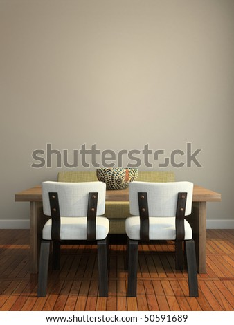 Part of the modern interior 3D rendering - stock photo