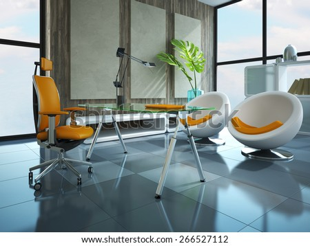 Part of the modern office 3D rendering - stock photo