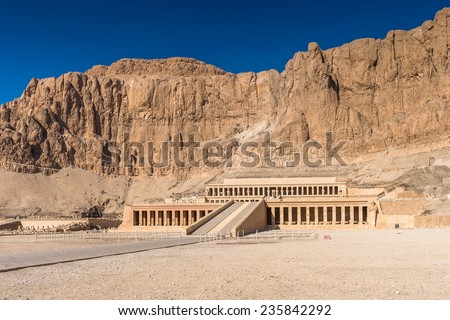 Part of the Mortuary temple of the Queen Hatshepsut (Dayr el-Bahari or Dayr el-Bahri), Western Bank of the Nile - stock photo