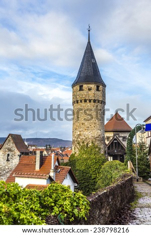 Part of the original drawbridge tower that lead to the castle in Bad Homburg, near Frankfurt - stock photo