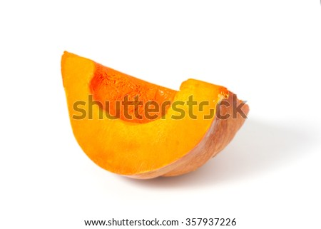 part of the pumpkin on a white background, clipping path.