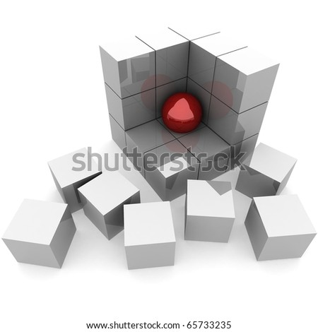 part of the ruins of a pyramid of cubes in which the red ball. 3D computer rendering - stock photo