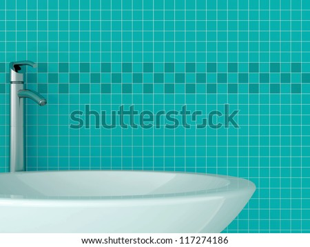 Part of the sink against the blue tiles - stock photo