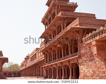 Part of the sixteenth century city of Fatehpur Sikri in Rajasthan, India, built to be the political capital but abandoned after just 14 years because of the lack of a reliable water supply - stock photo