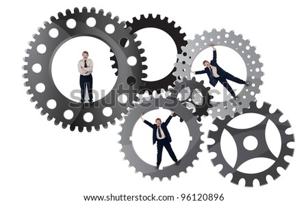 Part of the team effort concept with businessman inside cogwheels - stock photo