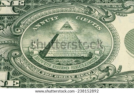 Part of the turnover of the banknote 1 dollar. Macro shooting. - stock photo