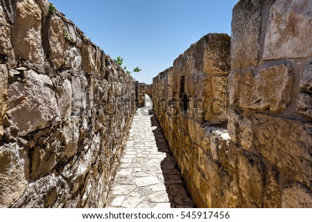 Part of the wall surrounding the Old City in Jerusalem, Israel. An important Jewish religious site