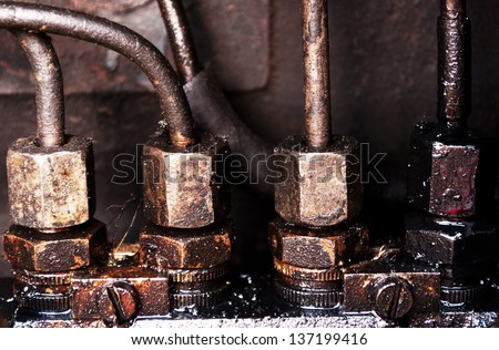 Part of  tractor diesel engine close up image - stock photo