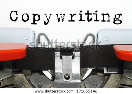 Part of typing machine with typed copywriting word - stock photo