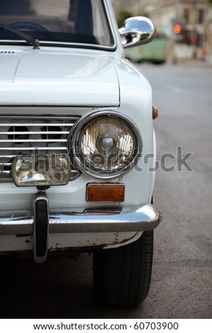 part of unique italian vehicle, selective focus, can be meet on Cuba,in former Soviet Union