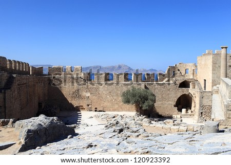 Part of wall of Lindos Acropolis, Rhodes island, Greece