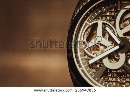 Part of watch with mechanical movement, macro shot - stock photo