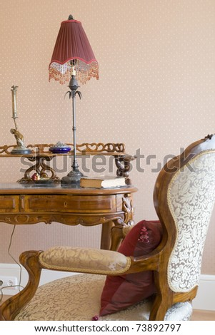 part of work place in classic style - stock photo