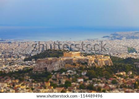 Parthenon and Acropolis in Athens,Greece - stock photo