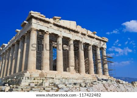 Parthenon temple in Acropolis at Athens, Greece - travel background - stock photo