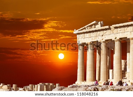 Parthenon temple  on the Athenian Acropolis, Greece - stock photo