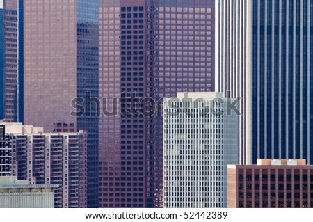 Partial and close up view of downtown Los Angeles buildings and modern architecture. - stock photo