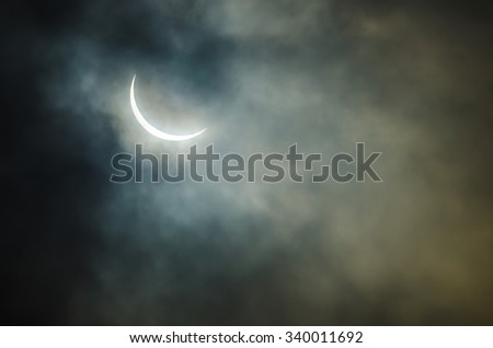 Partial solar eclipse where the sun is covered 93% - stock photo