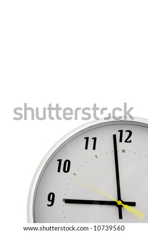partial view of a clock over a white background