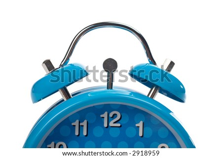 Partial view of blue alarm clock with bells on top isolated over white background