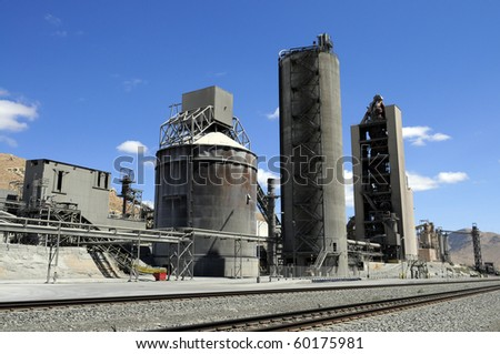 Partial view of large California cement manufacturing plant - stock photo