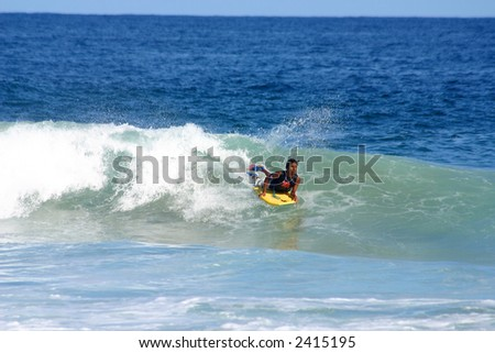 partial view of the bay of San Agustinillo in the southern state of Oaxaca in Mexico, Latinamerica - stock photo