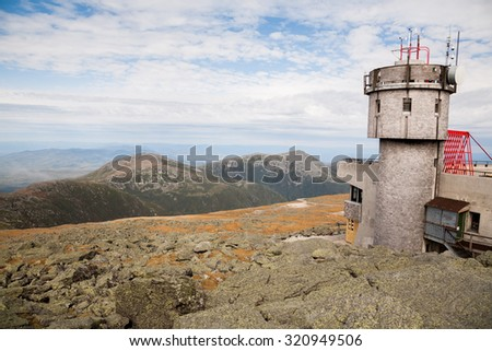 Partial view of the observatory at the summit on Mt Washington.