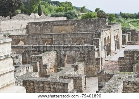 partial view of the ruins of Medina Azahara - stock photo