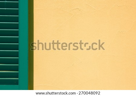 Partial window shutter with copy space. - stock photo