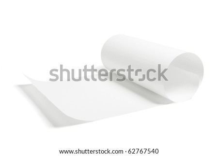 Partially Rolled Up Paper on White Background - stock photo