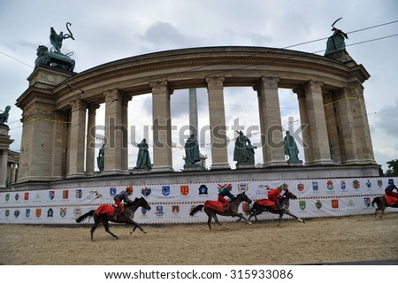Participant(s) of the hungarian national galopp race  at June 1, 2009 in Budapest, Hungary. - stock photo