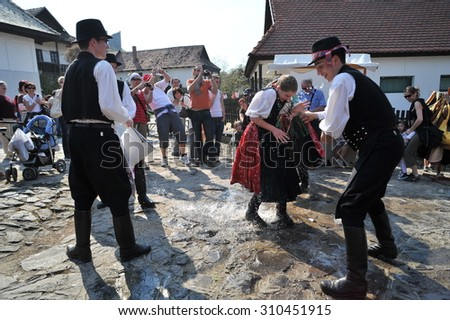 Participant(s) of the traditional Easter Festival at April 12, 2009 in Holloko, Hungary. Village is UNESCO World Heritage Site.