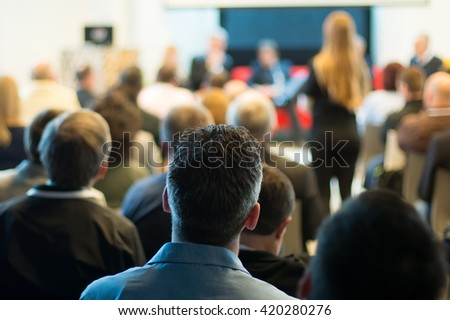 participants at the conference - stock photo