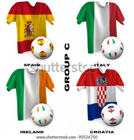 Participating teams of Group C of Europe's biggest soccer competition. Easy to edit and use. - stock photo