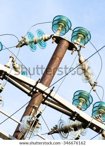 Particular a Pylon. particularly of the components of high voltage pylon. - stock photo