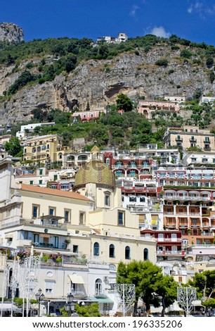 Particular architecture of Positano, Amalfi coast, Italy - stock photo