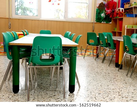 particular of a classroom in a kindergarten with little green chairs - stock photo